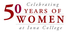 50 Years of Women at Iona College Logo